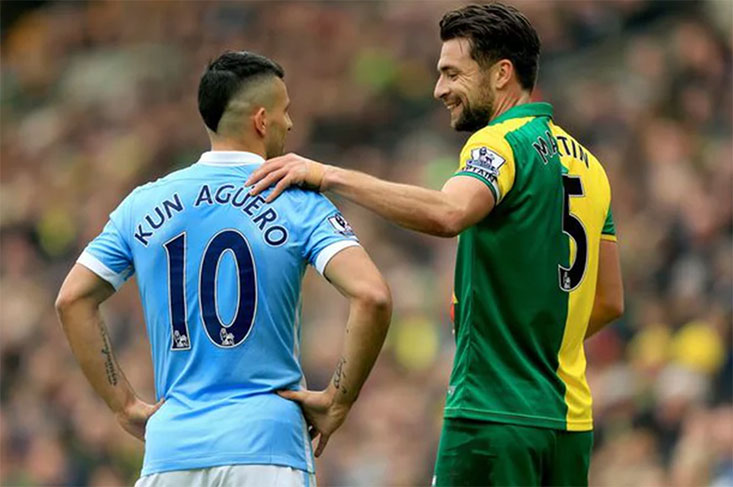 Russell Martin makes his 120th Premier League appearance for Norwich City
